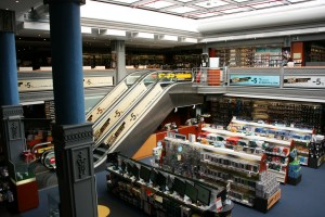 An interior shot of the FNAC store in Valencia.  FNAC is a French chain.