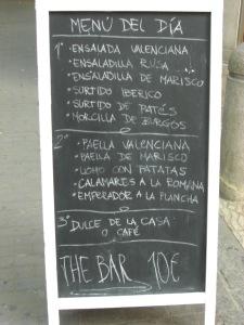 An example of a menú del día